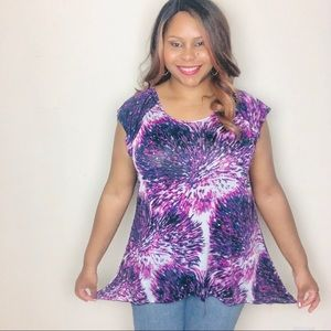 1X 18W Purple Blue White with Sequin Short Sleeve